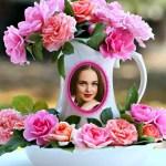 Fotomontaje de jarrón con rosas