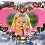 Fotomontaje de corazon y animalitos