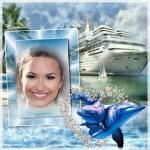Fotomontaje de embarcación con vista de isla y delfines