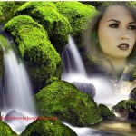 Fotomontaje con paisaje de cascada