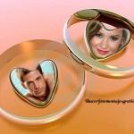 Fotomontaje de amor con anillos y corazones