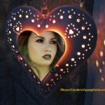 Fotomontaje de corazón iluminado