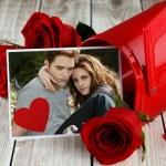 Fotomontaje de amor con rosas rojas