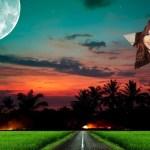 Fotomontaje de paisaje noche de luna