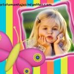 Fotomontaje para nenas con mariposa rosa