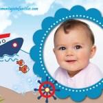 Fotomontaje infantil con barquito y peces