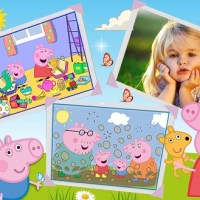 Fotomontaje de Peppa Pig y familia
