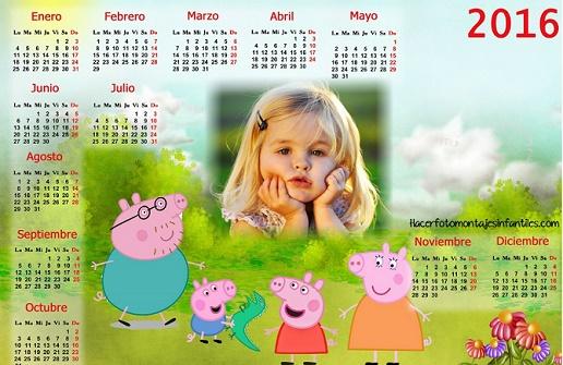 Calendario de peppa pig con foto 2016