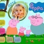 Fotomontaje de Calendario 2016 de Peppa Pig para personalizar gratis
