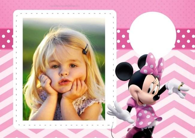 Marcos infantiles de Minnie - fotomontajes minnie vestido rosa