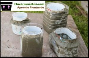 macetas hechas en casa con cemento