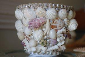 macetas decoradas con bellas conchas del mar.