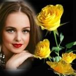 Marco de rosas amarillas para el Día de la Mujer