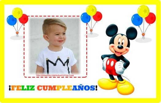 Marcos de Cumpleanos Mickey para editar con Foto