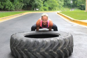 Woman flipping tire