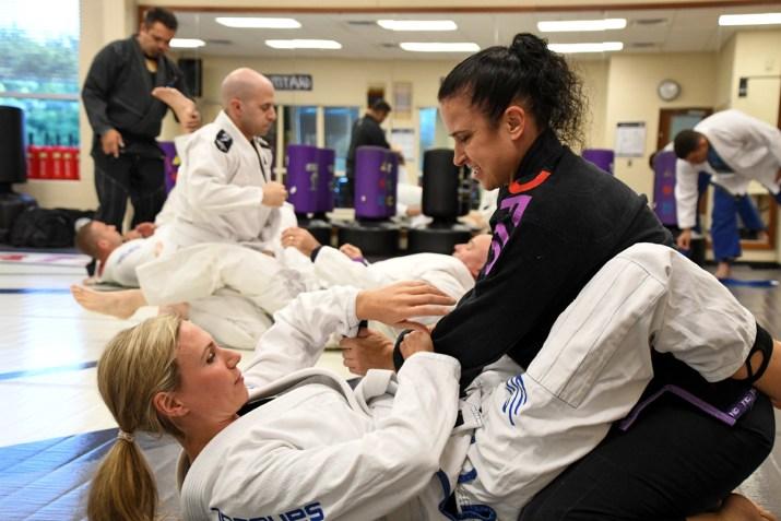 Women doing jiu-jitsu
