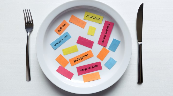 colorful notes of food additives on plate