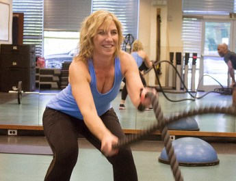 Woman using ropes during Personal Training