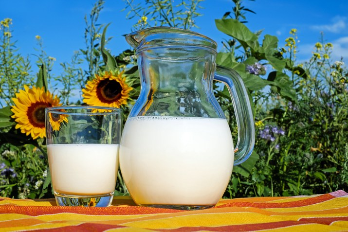 jug of milk with sunflowers in background