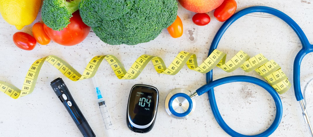 Glucose Testing with Vegetables and stethoscope