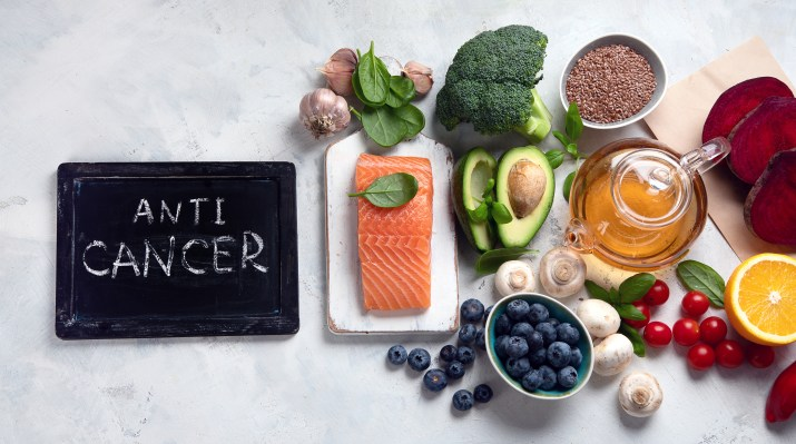 Anti cancer Food. Foods That Could Lower Your Risk of Cancer. Top view, flat lay