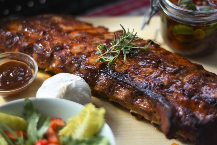 Close-up of barbecue spare rib