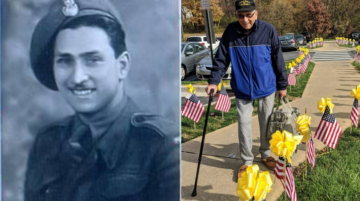 Witold Brick Service Photo on left, Recent photo walking through flag display ono right