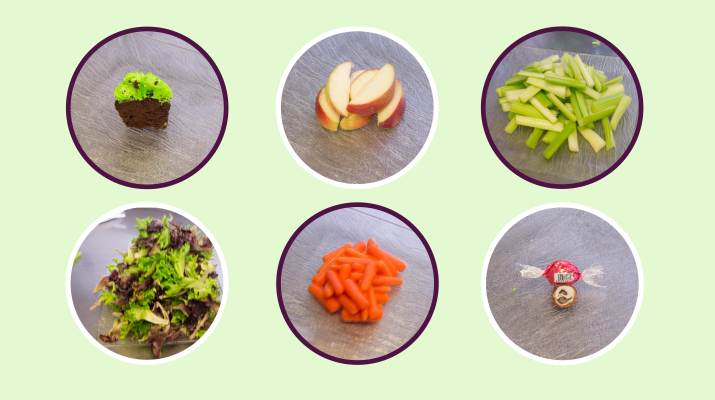 Six 100 calorie portions showing the size difference between a cupcake, lettuce, apple slices, celery, carrots, and truffles.