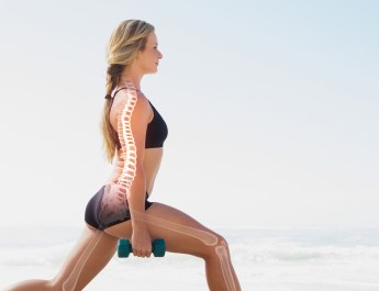 Highlighted bones of exercising woman