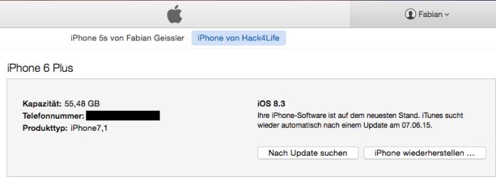 iPhone wiederherstellen über iTunes, Hack4Life, Fabian Geissler