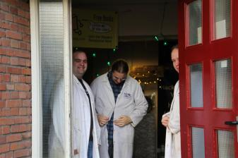 Apparently, some of the members were excited too! We received a royal lab coat welcome from almost a dozen of the key members of Hack42!