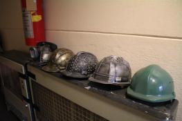 Uniform hard hats.
