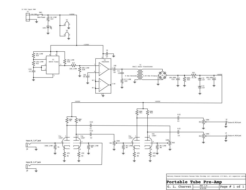 medium resolution of schematic of battery operated tube preamp