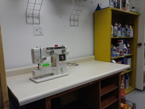 The dawn of a new sewing area. Sure beats my Hello Kitty Janome.