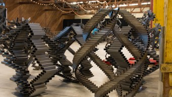 Sculptures from cut up steel bars