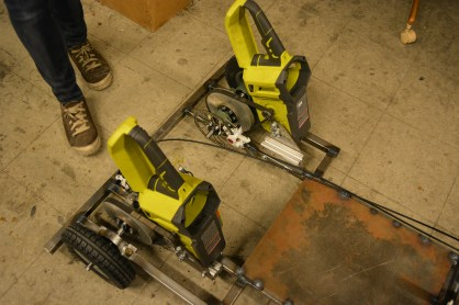Twin Ryobi electric chainsaw motors