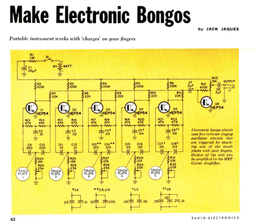 Make your own Electronic Bongos (Radio Electronics, July 1969).