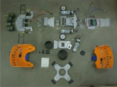 An exploded view of a Kiva warehouse robot