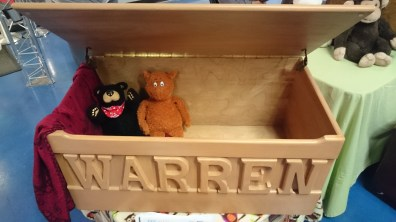 Customized toy box made by Grandpa Irv.