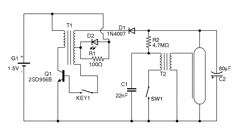 camera flash circuit based on a disposable camera currently