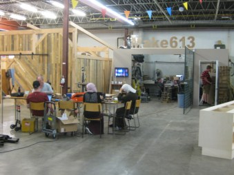 Make613's space with makers working away