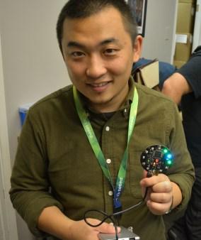 Eric Pan showing ReSpeaker detecting directional audio