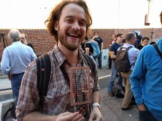 Zach Fredin air-wiring his badge LED matrix