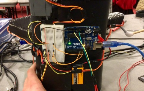 The electronics for the Alexa coffee maker robot