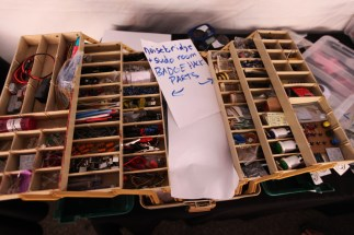 Noisebridge, the infamous San Fransisco hackerspace, showed up with a tackle box full of parts