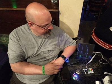 Joshua Snyder with is LED Pocket Watch and RGB matrix