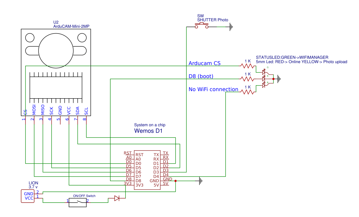 hight resolution of the electronics in the camera itself which martin calls the fs2 is quite simple at the core it s nothing more than the esp board an arducam camera