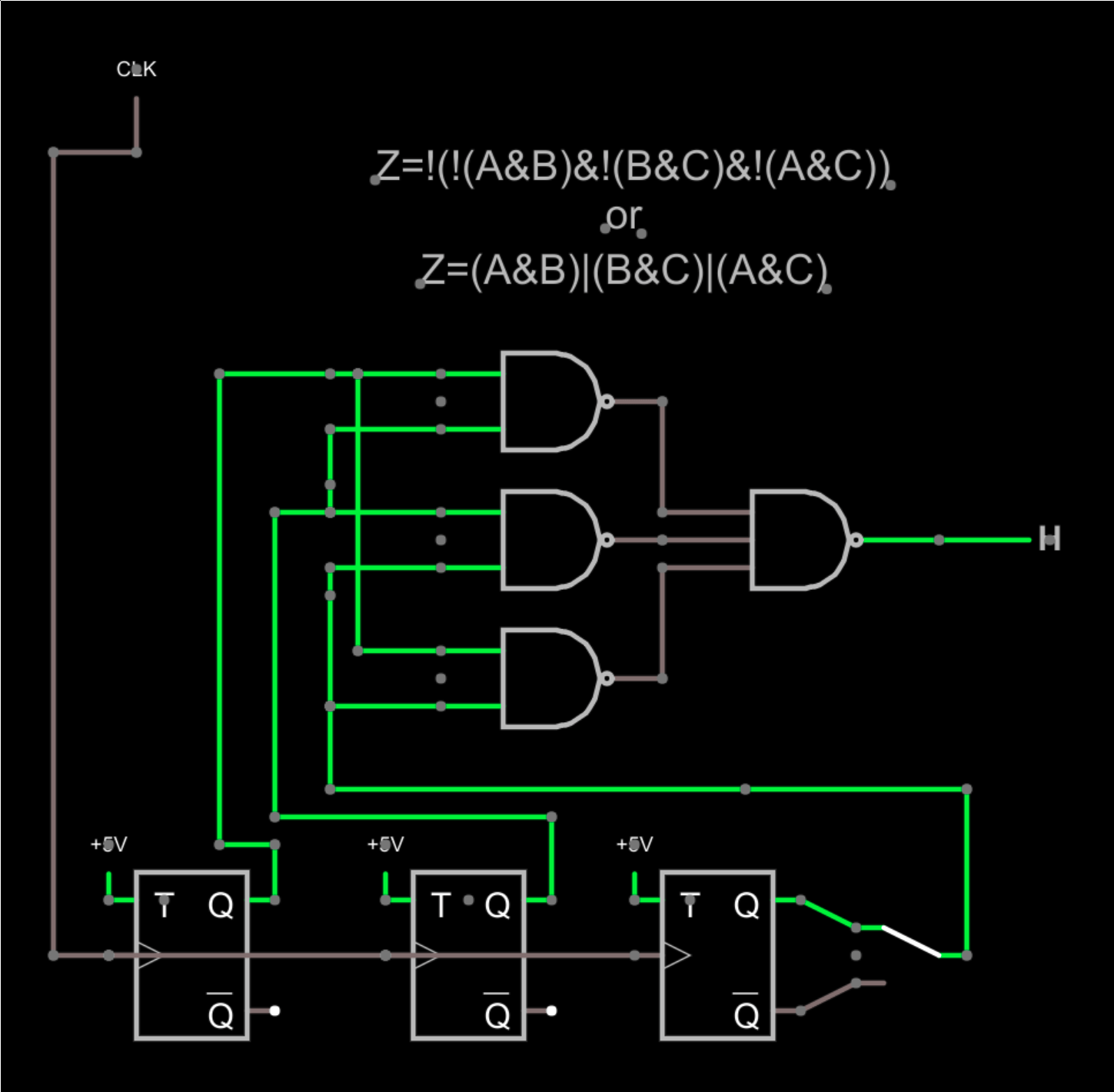 hight resolution of consider the circuit shown above the output should be the vote of the three flip flops the switch to the right lets you inject a failure by selecting the
