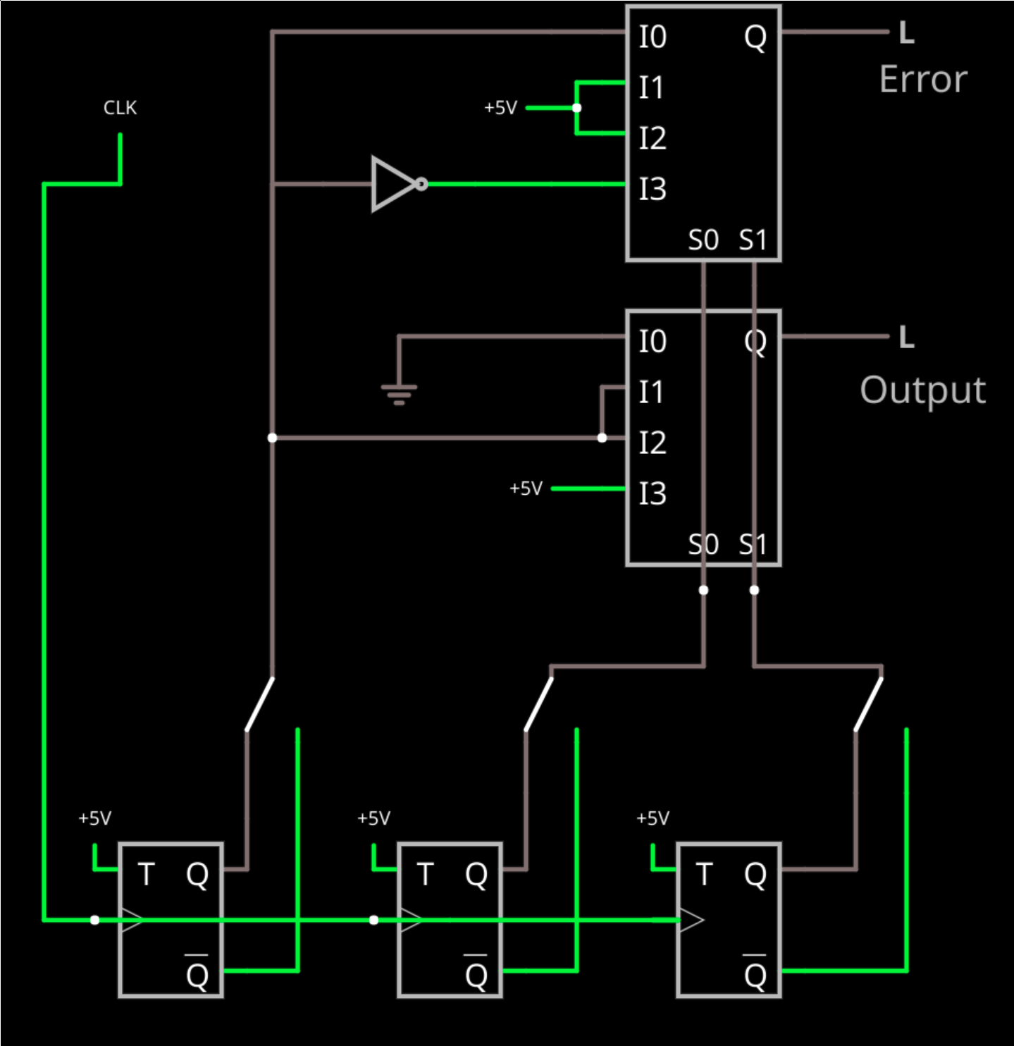 hight resolution of some fpgas have multiplexers or can configure them quite easily here s a circuit that not only votes but uses another mux to detect if there is an error