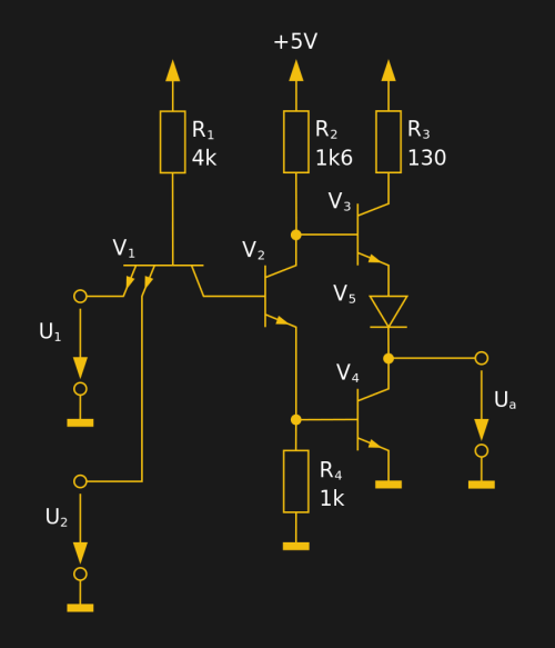 small resolution of the internal circuit of a single 7400 dual input nand gate 30px movgp0
